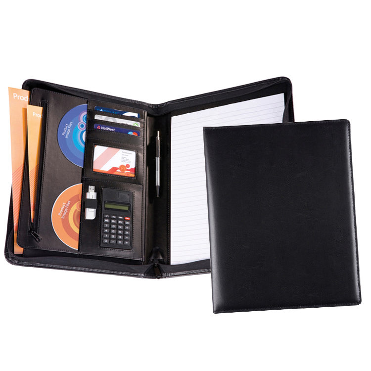 5518 Lugano PU A4 Deluxe Zipped Conference Folder (from stock)