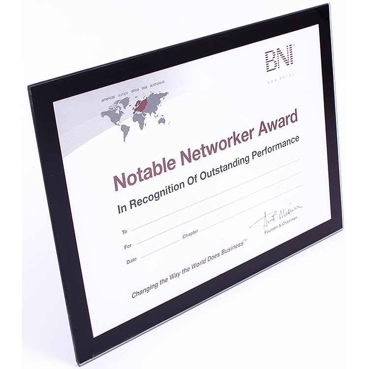 BNI Notable Networker Award Frame