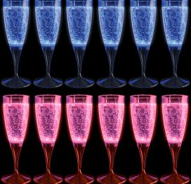 Glow Glass Flutes x 6 Including Presentation Case