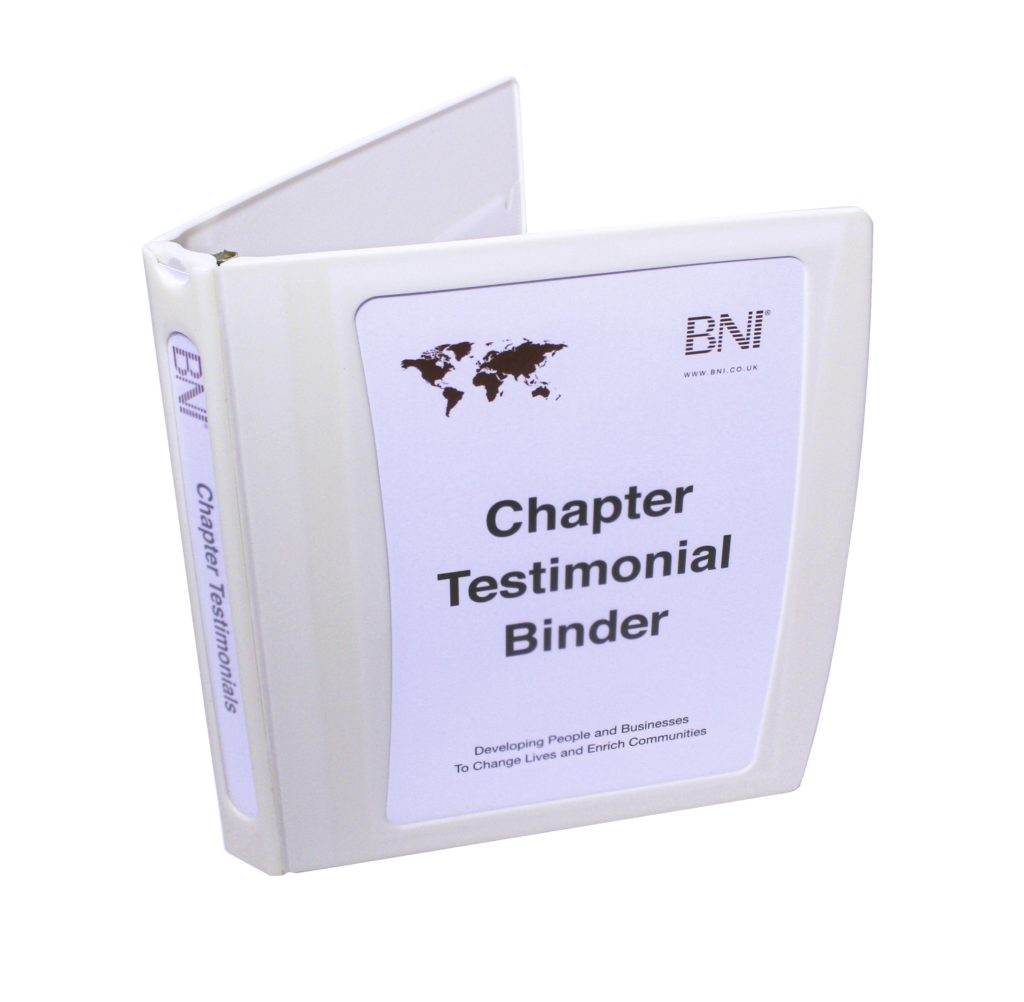 BNI Networking – Chapter Testimonial Binder