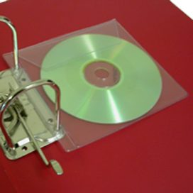 Clear plastic CD pockets for ring binding