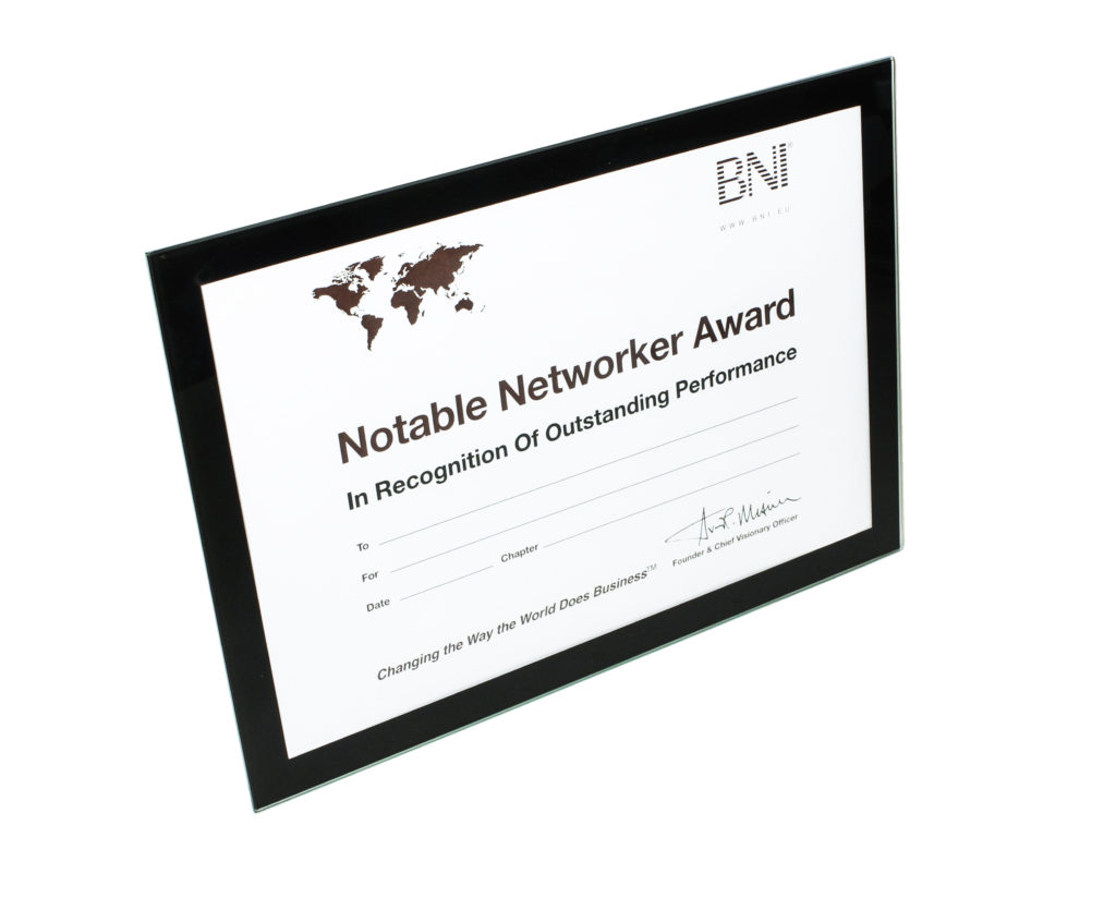 12 x BNI Notable Networker Award Frame