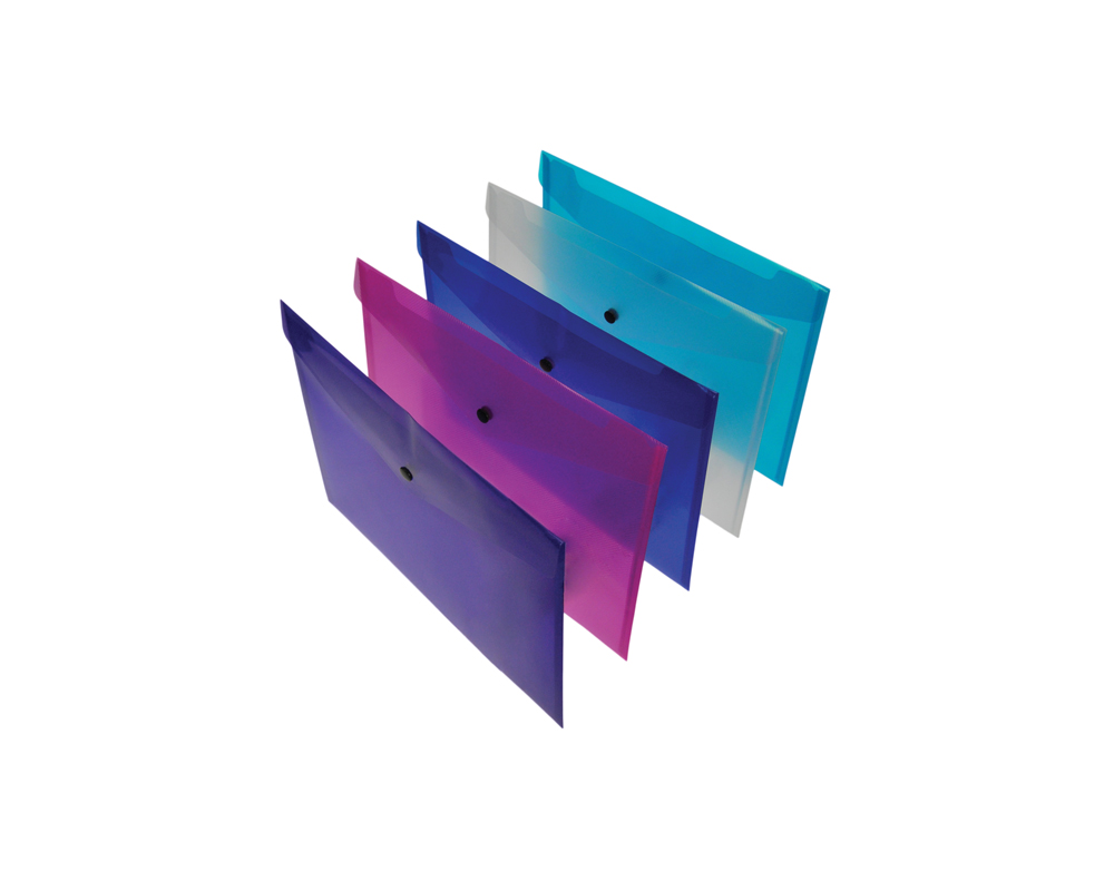 A4+ Coloured popper wallets (pack of 5)